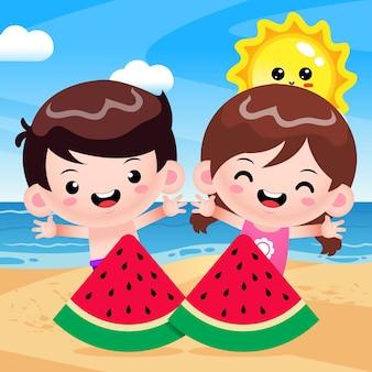Happy cute kids and watermelon at beach