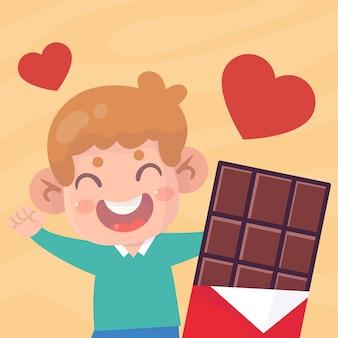 초콜릿 일러스트와 함께 행복 한 귀여운 아이
