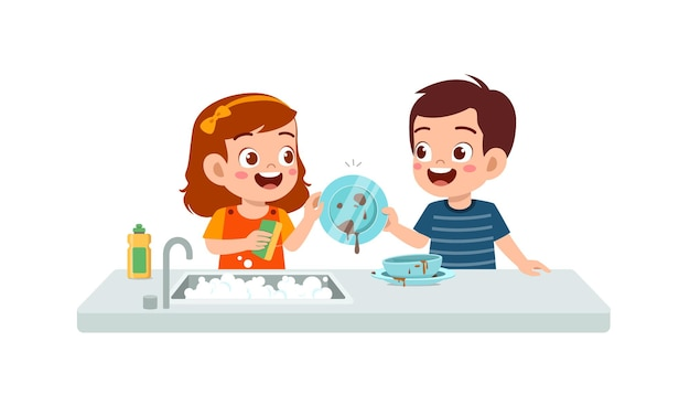 幸せなかわいい男の子と女の子が一緒に皿を洗う