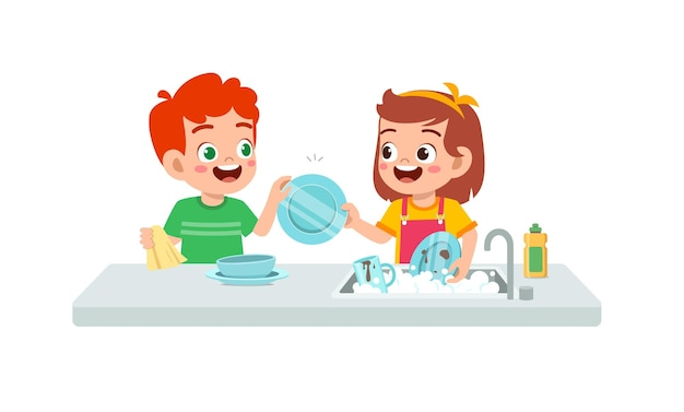 Happy cute little boy and girl washing dish together