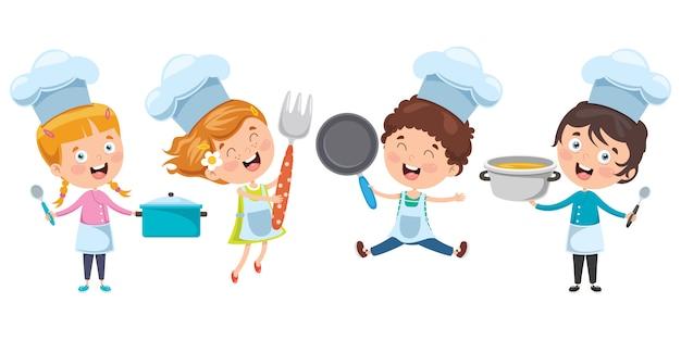 幸せなかわいい小さなシェフの料理