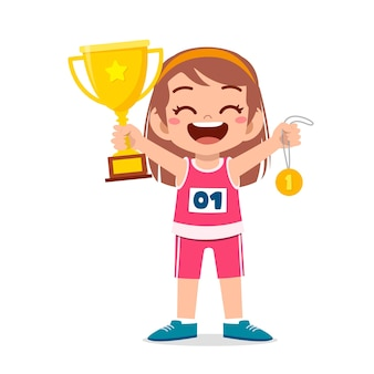 Happy cute little girl holding gold medal and trophy