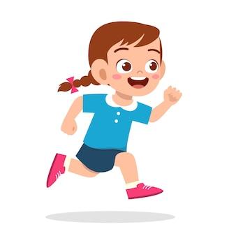 とても速く走っている幸せなかわいい女の子 Premiumベクター