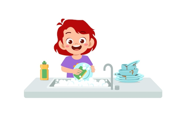 Happy cute little girl washing dish in the kitchen