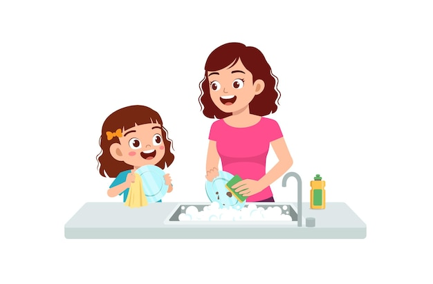 Happy cute little girl washing dish with mother