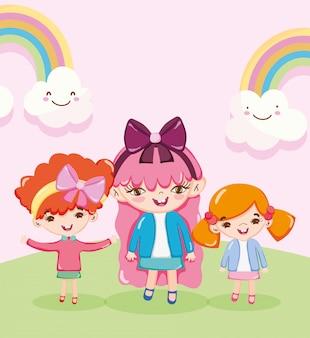 Счастливые милые маленькие девочки с радугой пейзаж иллюстрации шаржа