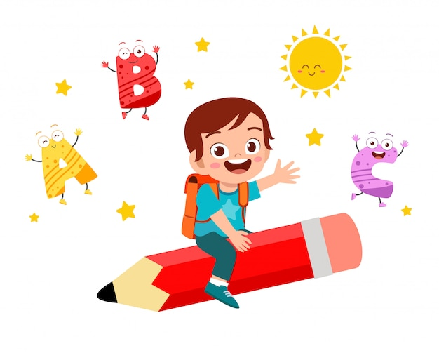 Happy cute little kid boy fly with pencil