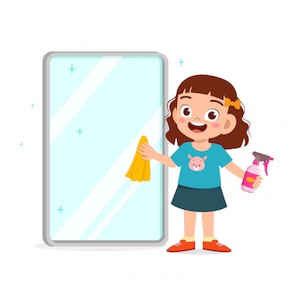 Happy cute little kid boy and girl do chores cleaning mirror