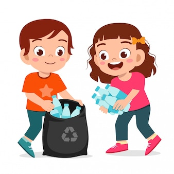 Happy cute little kid boy and girl collect trash