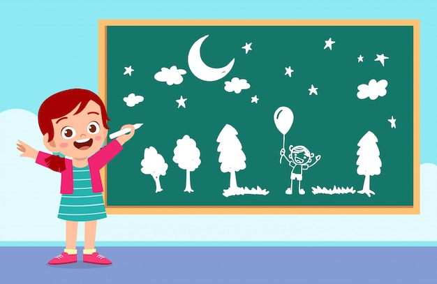 Happy cute little kid boy and girl draw with chalk on blackboard together