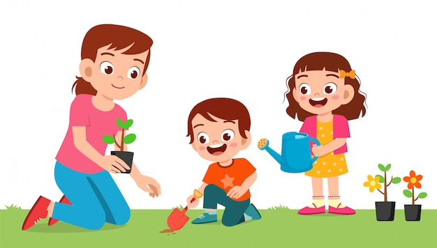 Happy cute little kid boy and girl plant flower with mom
