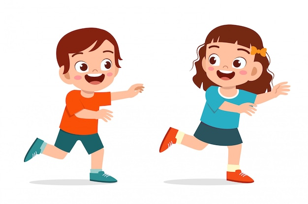 Happy cute little kid boy and girl play run tag