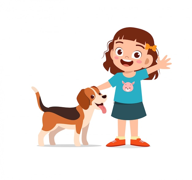 애완 동물 강아지와 함께 행복 한 귀여운 꼬마 소년 소녀 놀이