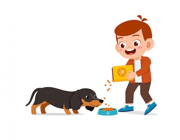 애완 동물 강아지와 함께 행복 한 귀여운 작은 아이 소년 소녀 놀이