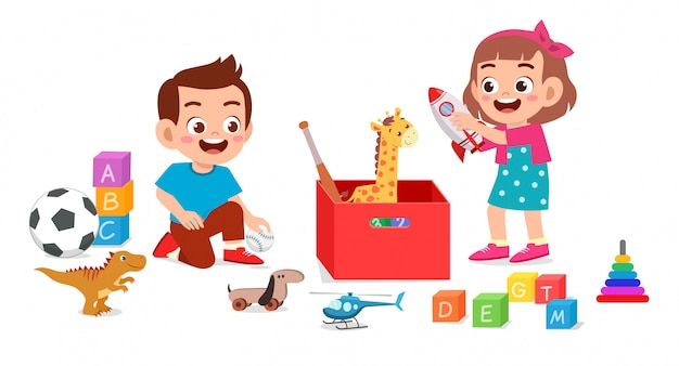 Happy cute little kid boy and girl playing with toys