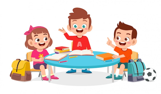 Happy cute little kid boy and girl study together
