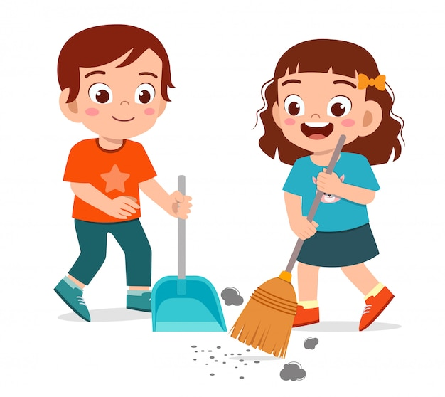 Happy cute little kid boy and girl sweeping floor