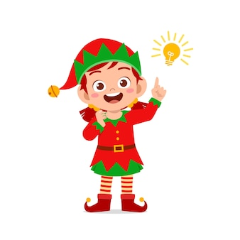 Happy cute little kid boy and girl wearing green elf christmas costume and thinking