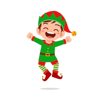 Happy cute little kid boy and girl wearing green elf christmas costume