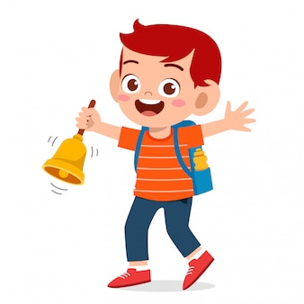 Happy cute little kid boy and girl with teacher ring a bell