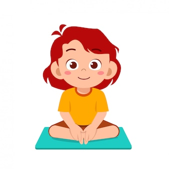 Happy cute little kid boy and girl do yoga pose