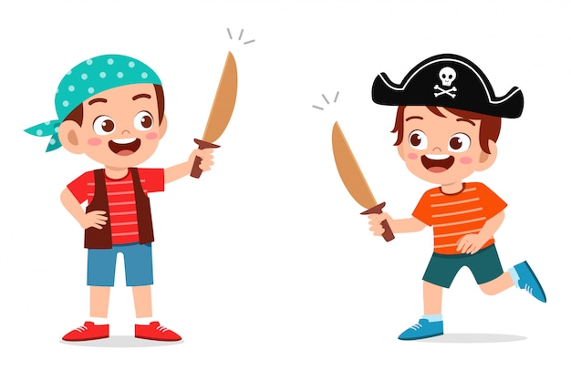 Happy cute little kid boy play toy sword