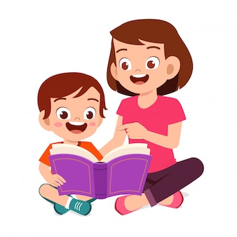 Happy cute little kid boy read book with mom