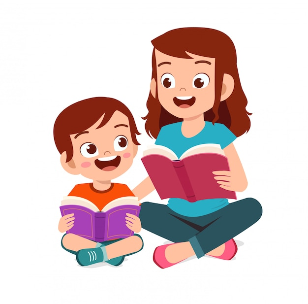 Happy cute little kid boy read story book with mom