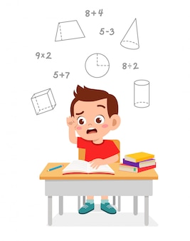 Happy cute little kid boy study math