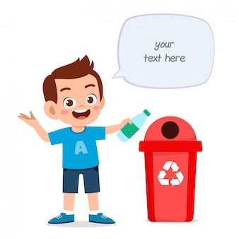 Happy cute little kid boy throw trash