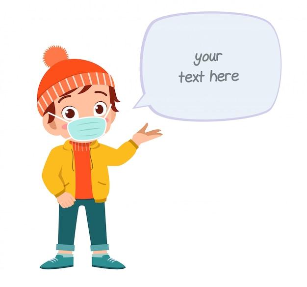 Happy cute little kid boy wear mask avoid virus