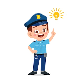 Happy cute little kid boy wearing police uniform and thinking with light bulb sign