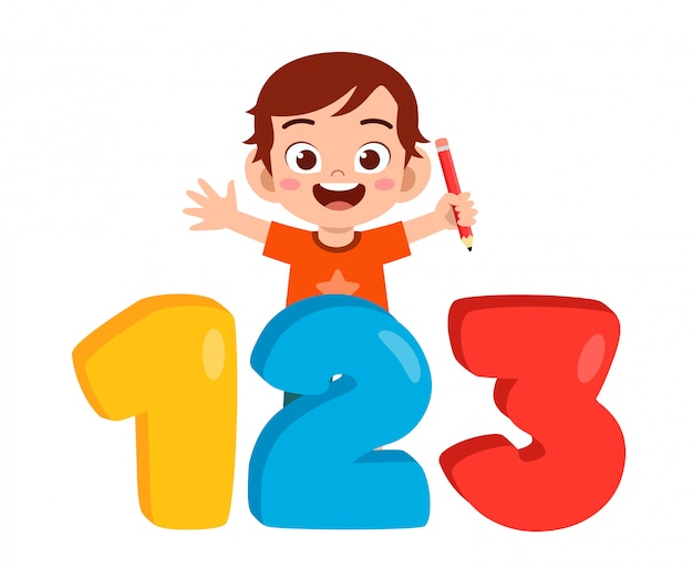 Happy cute little kid boy with number