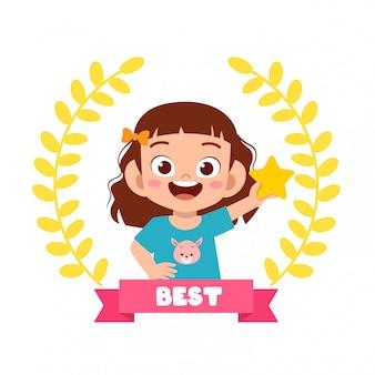 Happy cute little kid girl be a winner