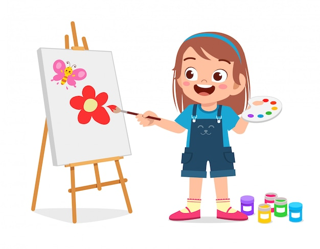 Happy cute little kid girl draw on canvas