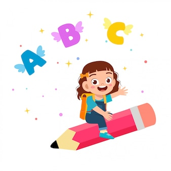 Happy cute little kid girl fly with pencil