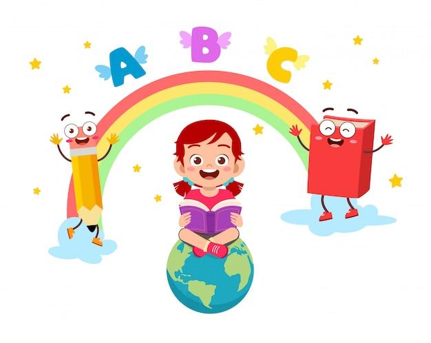 Happy cute little kid girl go to school