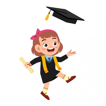 Happy cute little kid girl graduate from school