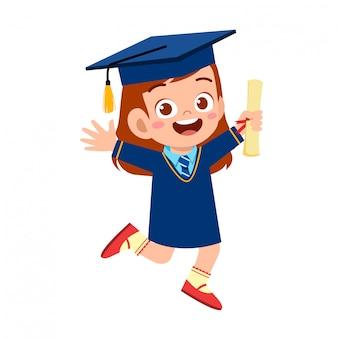 Happy cute little kid girl graduate from school