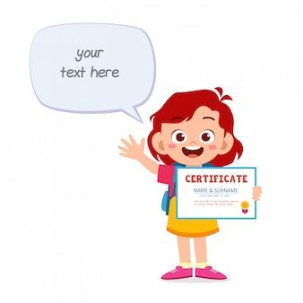 Happy cute little kid girl holding certificate