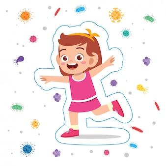 행복 귀여운 꼬마 소녀 면역 보호 시스템
