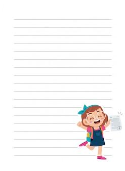 Happy cute little kid girl notebook school