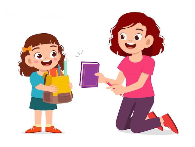 Happy cute little kid girl prepare go to school with mom