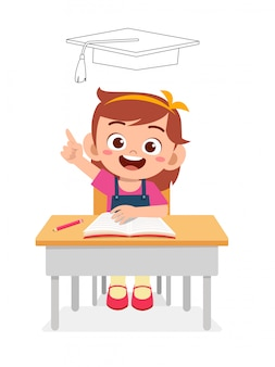 Happy cute little kid girl thinking on exam