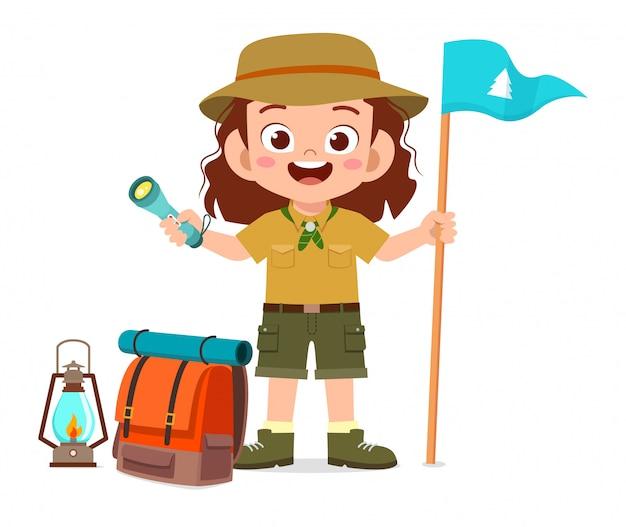 Happy cute little kid girl wear scout uniform