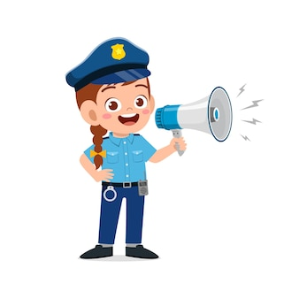 Happy cute little kid girl wearing police uniform and holding megaphone