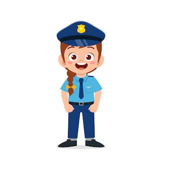 警察の制服を着て幸せなかわいい小さな子供の女の子