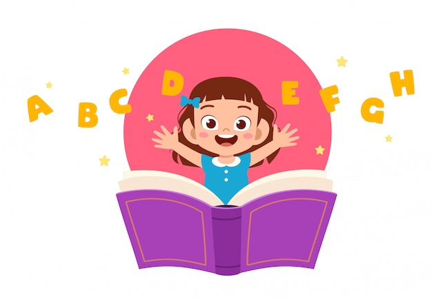 Happy cute little kid girl with book and letter