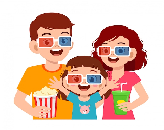 Happy cute little kid girl with movie with mom and dad
