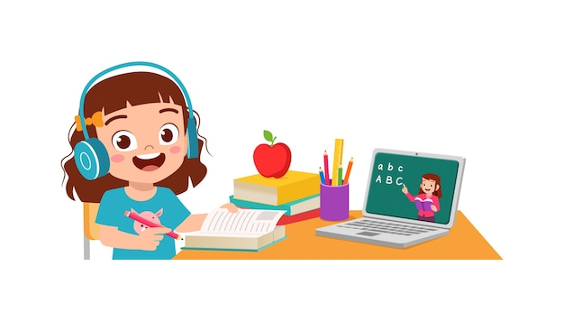 Happy cute little kid do home school with computer laptop connect to internet study e-learning and course